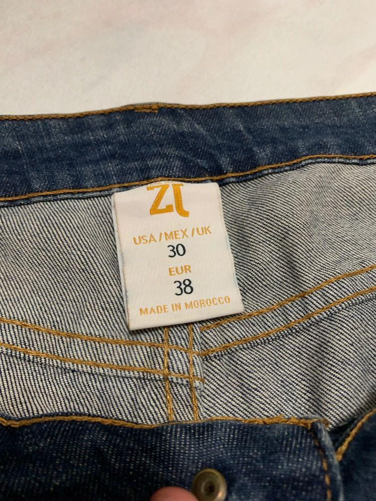 Zara blue washed rips jeans size 30