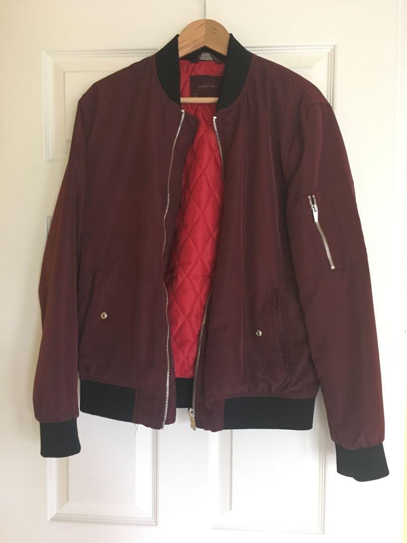 Zara Burgundy Bomber Jacket (size Small)