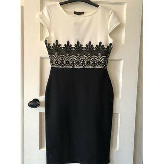 (New with tag) Want White Black Lace OL dress M size