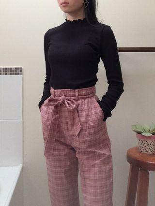 pink checkered tie waist pants size 6 xs