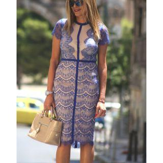 (New without tag) Missguided Blue Eyelash Lace Dress  M size