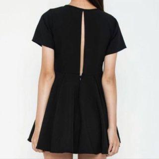 Black Back Slit Babydoll Dress