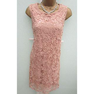 (New without tag) WAREHOUSE Dusky Pink Embroidered Lace Pencil Dress Size 10