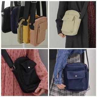 Instock Small Casual Vintage Canvas Sling Bag Phone Bag With Front Pocket