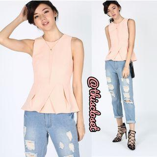 LB Tacita Peplum Top in Peach Pink