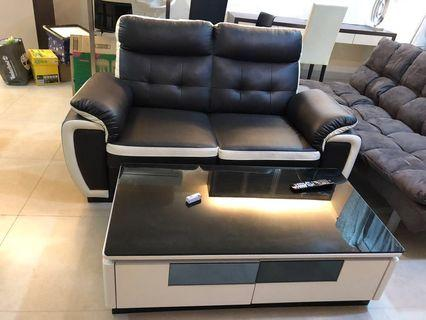 2 Seater Sofa & Solid Wood Coffee Table~