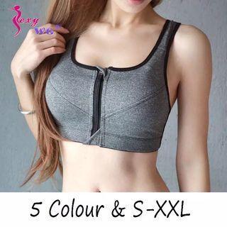 (PO) S-XXL Hot Women Zipper Push Up Sports Bras Vest Underwear Shockproof Breathable Gym