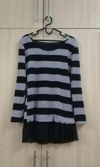 Grey and Black Striped Top with Mesh Ruffle