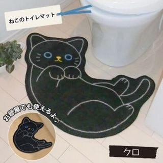 Cute black cat mat