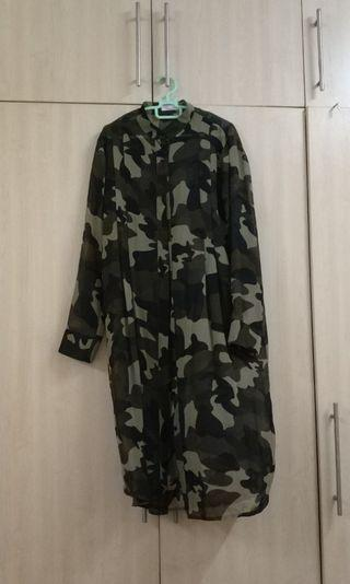 Camouflage Sheer Blouse