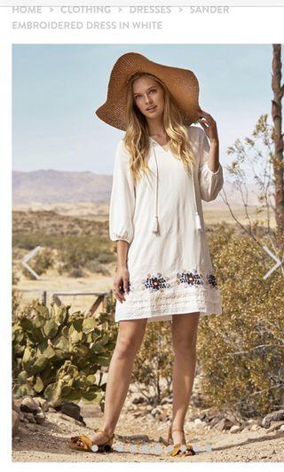 TCL Sander embroidered dress in white (bk lug)