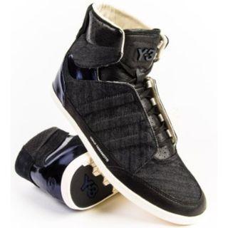 【專櫃正品】山本耀司Yohji Yamamoto Y-3 異材質 丹寧布+漆皮 低筒 休閒鞋 短靴
