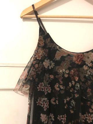 Black sheer floral dress