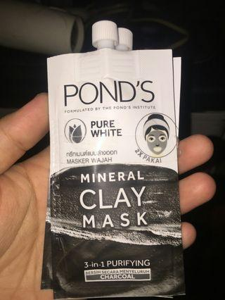 Ponds mineral clay mask 3 in 1 charcoal masker murah meriah