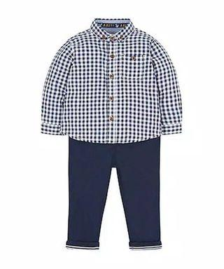 Mothercare Blue Gingham Shirt with Trousers Set