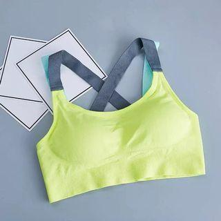 (PO) S-XL Cross Strap Back Women Sports Bra Professional Quick Dry Padded Shockproof Gym Fitness Running