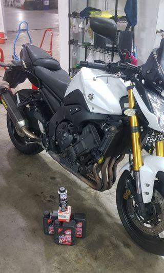 Yamaha FZ8 engine oil servicing motorcycle class 2