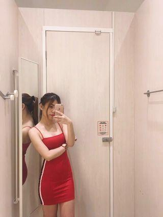 H&M Red Side Strype Bodycon Dress