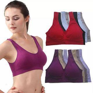 (PO) S-XXXL NEW Womens Sport Bra Fitness Yoga Running Vest Underwear Padded Crop Tops Underwear 7 Colors