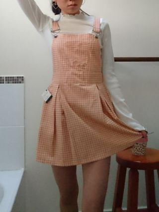 Pink gingham overall dress size s fits 6-8