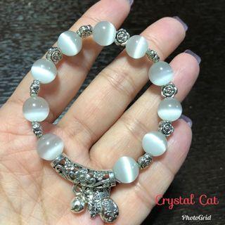 白貓眼石配藏銀手鏈