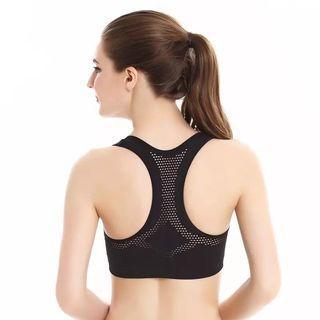 (PO) M-XL Women Workout Stretch Tank Top Yoga Padded Vest Sport Bra Tops Racerback Sports Bra