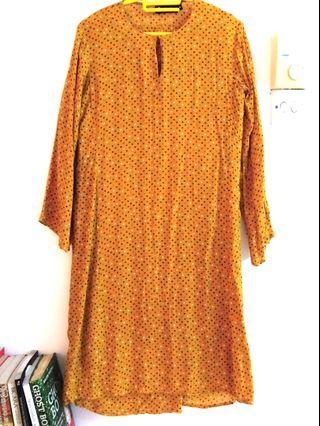Mustard polka dot cotton kurung #mgag101