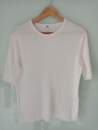 Uniqlo White Ribbed Top