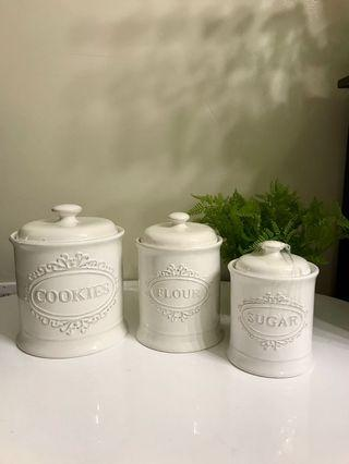 ANTIQUE KITCHEN STORAGE JAR SET