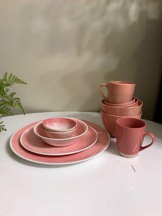 PINK DINING SET - BOWL / CUPS / PLATES