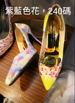 全新韓國尖頭高踭鞋 紫藍水彩印花高跟鞋 豆令爭 Women Shoes High Heel Made in Korea