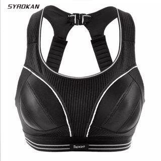 (PO) A-F Women's Compression Racerback Adjustable High Impact Running Sports Bra