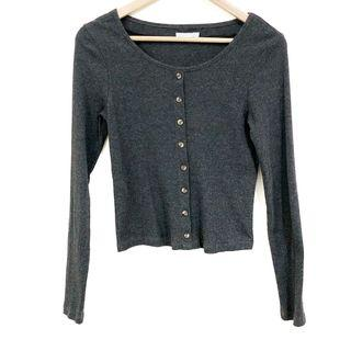 6ixty8ight Grey Button Long Sleeve Top