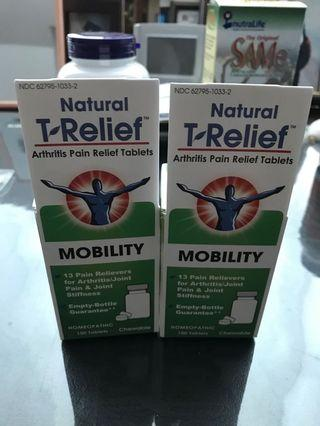 T- relief for arthritis pain relief (100tablets) chewable. Expire2023. Price for one bottle