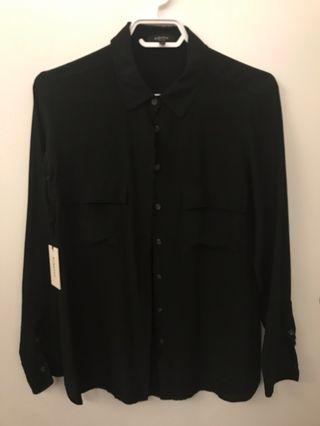 Babaton 100% silk dress shirt NWT