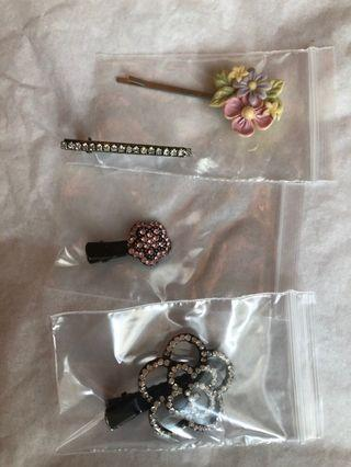 🚚 Hair clips -assorted (all 4 pcs)