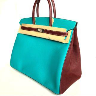 🚚 Hermes - HSS Special Order Blue Paon / Bordeaux Birkin 40 with Grey Stitchings in Veau Epsom with Brushed PHW