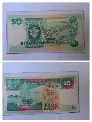 Boat series $5 note 1pc