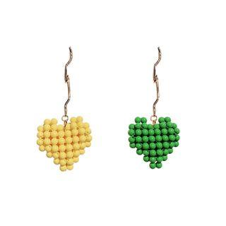 Preorder - Macaron heart shaped beaded woven heart-shaped earrings