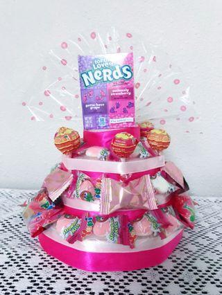 Pink Candy Birthday Cake Gift