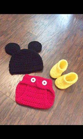 Crochet Baby Mickey Outfit Set