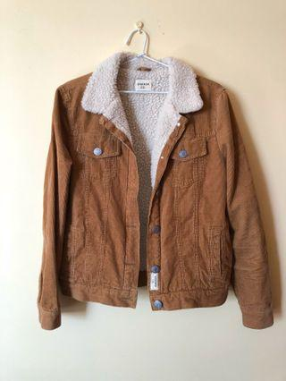 Vintage tan corduroy jacket with wool collar