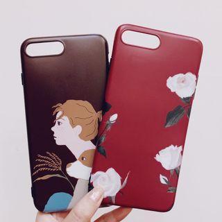 iphone 7 plus 手機殼 復古酒紅玫瑰/女人與狗