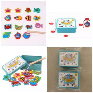 Brandnew 15 pieces Magnetic wooden fishing toy set. Box measures 12.5 x 9.5 x 4cm.