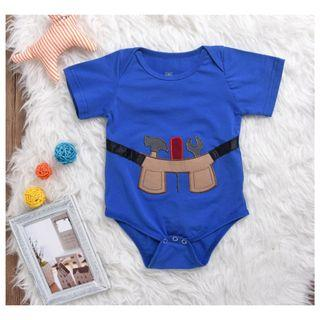 BLUE BABY SHORT SLEEVE EMBROIDERED BODYSUIT ROMPER