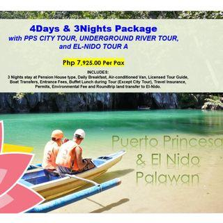 4D3N Palawan Package with PPS City Tour, Underground River Tour & El Nido Tour A