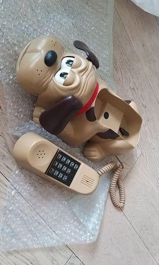 古董電話狗 全新 冇盒可以用 聽電話會開眼