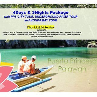 4D3N Puerto Princesa with City Tour, Underground River & Honda Bay Tour