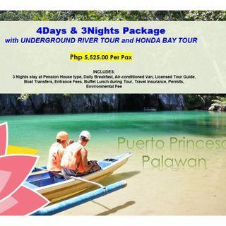 4D3N Puerto Princesa with Underground River & Honda Bay Tour