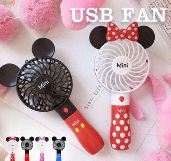 (Ready stock) Cute USB Fan Mini Fan Handheld Fan Battery Usb Charging Cartoon